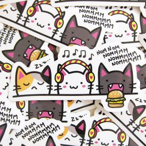NOM NOM NOMM Cats Vinyl Sticker
