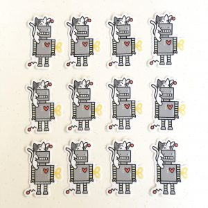 Cat & Robot Vinyl Sticker