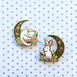 Moon Cat & Rabbit Pin Set (Daylight & Night editions)