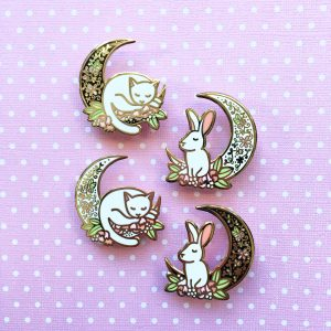 Moon Cat & Rabbit Pin (Daylight edition)