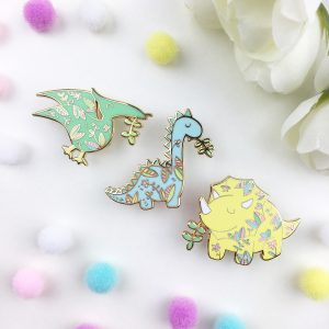 Floral Dinosaurs Pin Set