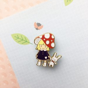 Forest Mushroom Girl Pin