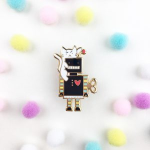Cat & Robot Pin