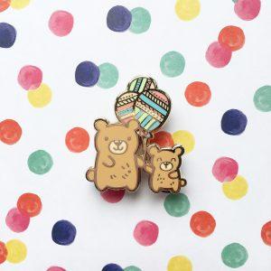 Balloon Bears Pin (Brown bears)