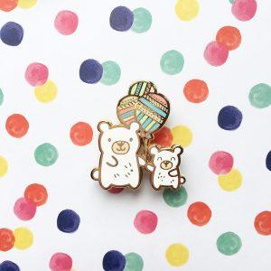 Balloon Bears Pin (Polar bears)