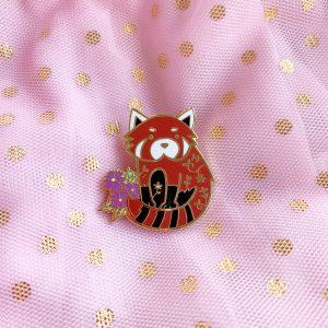Floral Red Panda Pin